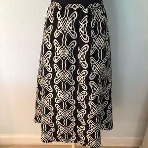 Chico's Silk Black and White Graphic Circle Skirt